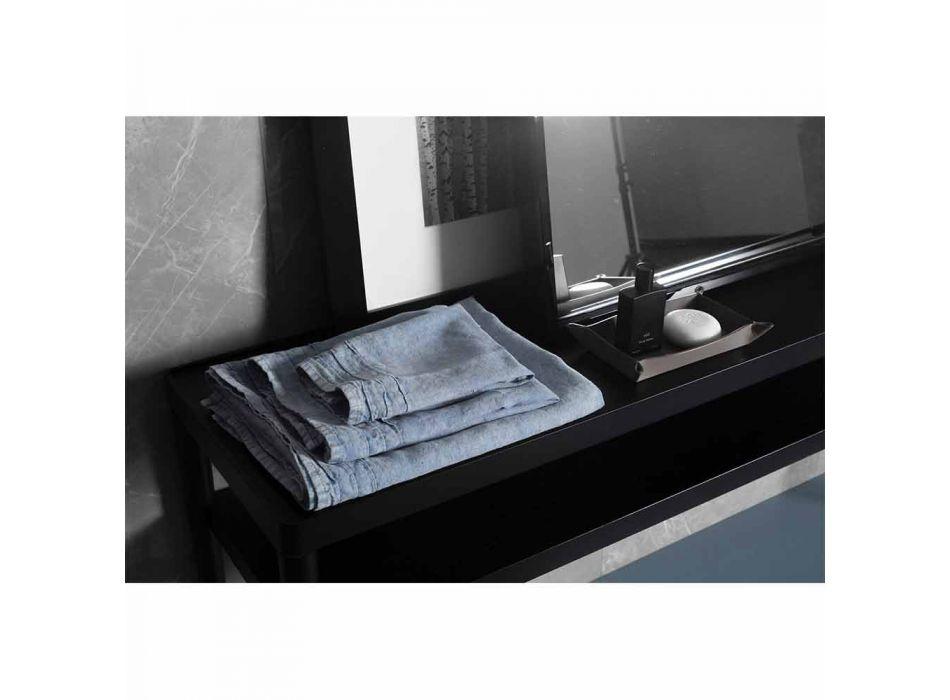 Hellblaues Gästetuch aus schwerem Leinen Italienisches Luxus-Design - Jojoba