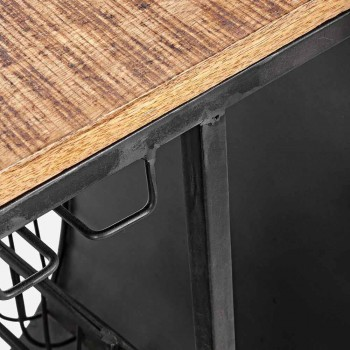Bar Console aus Mangoholz und Vespa aus Stahl mit modernem Design - Schalotte