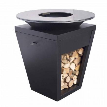 Gartengrill mit Feuerbetrieb, Kochplatte und Holzhalterung - Ferran