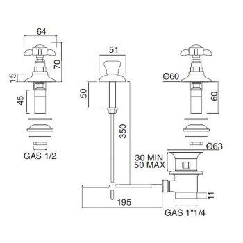 Batterie-Bidet 3-Loch Interne Lieferung Messing und Schmetterlingsgriffe - Miriano