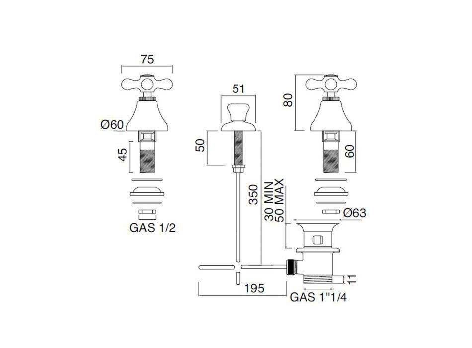 Batterie Bidet 3-Loch Ablauf Interne Lieferung Handgefertigtes Messing - Ercolina