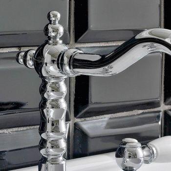 3-Loch Waschtischmischer mit Messingablauf im klassischen Handwerksstil - Noriana