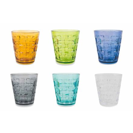 12 Coloured Service Coloured Glass Wassergläser - Verwebung