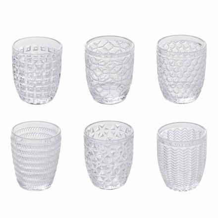 Dekorierte transparente Glaswassergläser, moderner Service 12 Stück - Mix