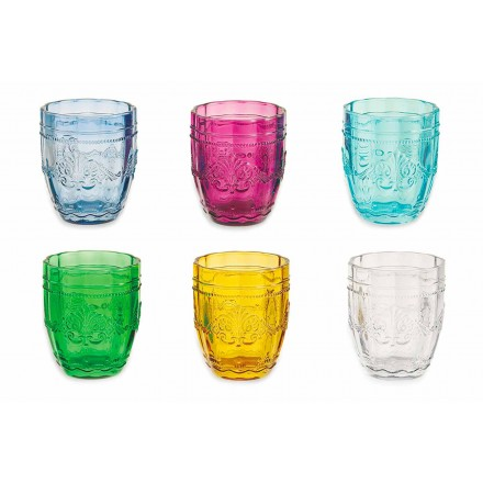 Farbige und elegante Gläser in Glas Service von 6 Stück für Wasserschraube