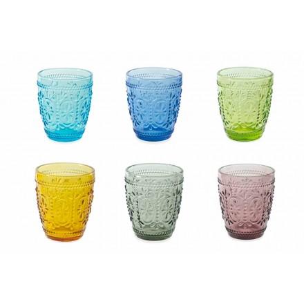 Dekorierte und farbige Gläser Wasserset 6 Stück - Pastell-Palazzo