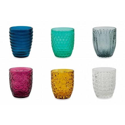 Moderne farbige Glas dekorierte Gläser, die Wasser 6 Stücke dienen - mischen