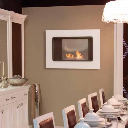 Weißer Wand-Biokamin mit modernem Design mit Erica Glass Insert
