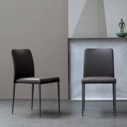 Bonaldo Deli Stuhl aus Leder mit gepolstertem Sitz, Design made Italy