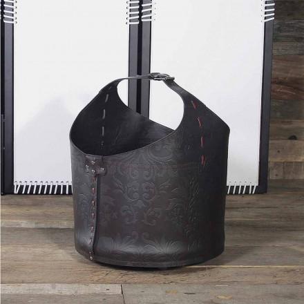 Holztasche für Kaminholz aus Leder, Michelangelo,100% Italienisch