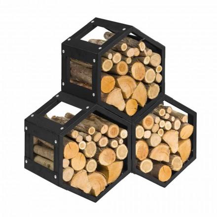 Modularer Holzhalter für modernes Innendesign aus schwarzem Stahl - sechseckig