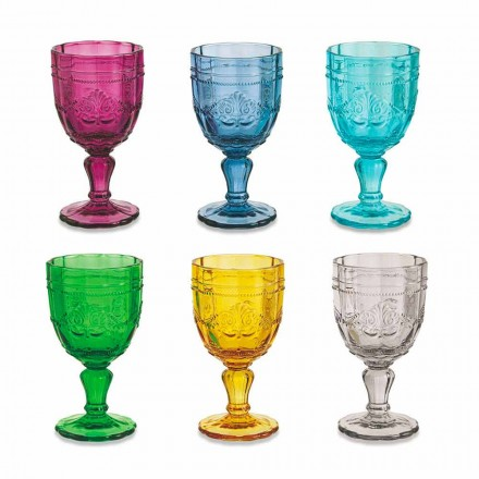 Farbige Weinkelche aus Glas mit Arabescato-Dekoration, 12-teiliger Service - Schraube
