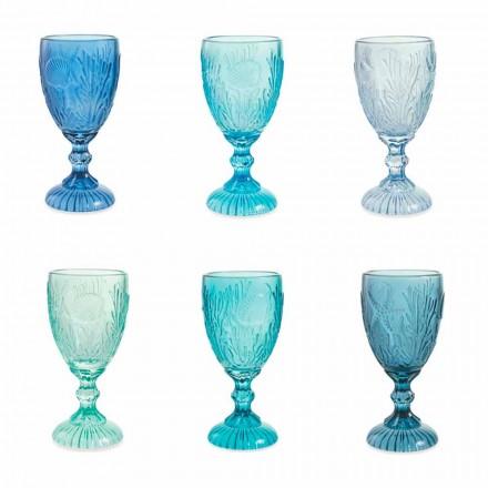 Wein- oder Wassergläser Farbige Glasgläser Marine Decor 12 Stück - Mazara