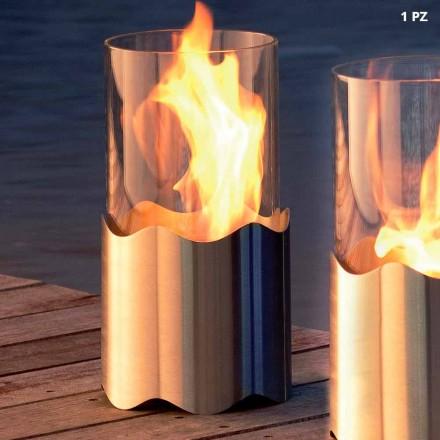 Bio Ethanol Tischkamin aus Edelstahl und Glas Leon