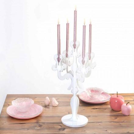 Klassisches Design mittlerer Kerzenhalter, 5 Arme aus Plexiglas, Aragona