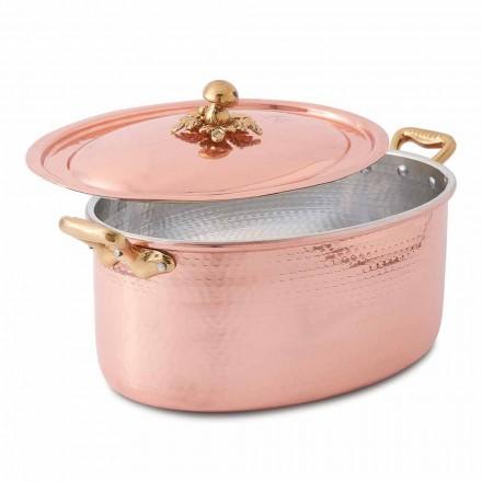 Ovaler handverzinnter Kupferauflauf für Ofen und Deckel 27x20 cm - Mariag