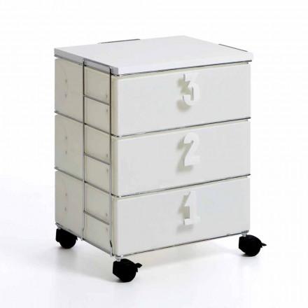 Kommode mit 3 Schubladen mit Zahlengriffen und weißen Yodi-Rädern