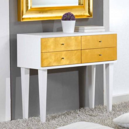 Kommode im Scandinavian Style weiß mit 4 Schubladen in Blattgold