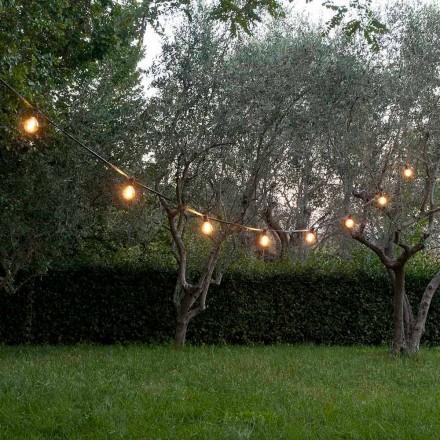 Neopren-Außenkabel mit 8 Lampenfassungen und 2 Haken Made in Italy - Festa