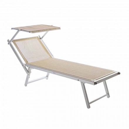Moderne Garten Chaiselongue mit Sonnenschirm und liegender Rückenlehne - Arnold