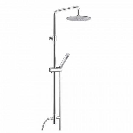 Rundschnitt-Duschsäule aus Messing mit Handbrause Made in Italy - Amadeo