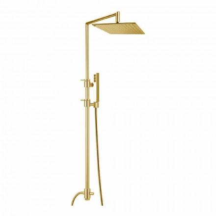 Messing-Duschsäule mit quadratischem Stahl-Duschkopf Made in Italy - Lipari