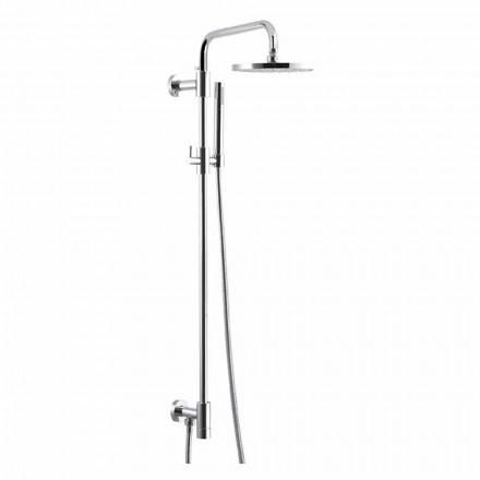 Duschsäule aus verchromtem Messing mit Duschkopf aus Stahl Made in Italy - Daino
