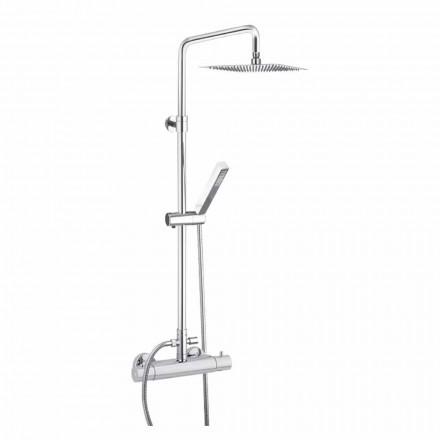 Duschsäule aus verchromtem Messing mit quadratischem Duschkopf Made in Italy - Studio