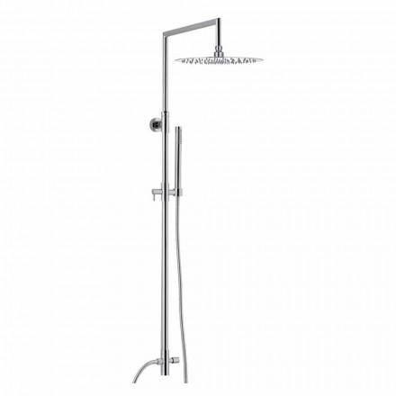 Duschsäule aus verchromtem Messing mit ultraschlankem Duschkopf Made in Italy - Primo