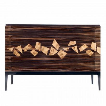 Design Kommode aus Ebenholz mit 4 Schubladen Grilli Zarafa in Italien hergestellt