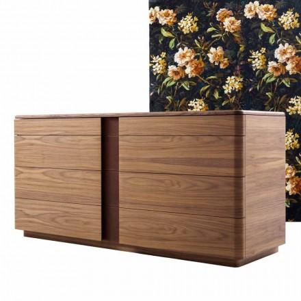 Design Kommode aus Massivholz und Leder Grilli York made in Italy
