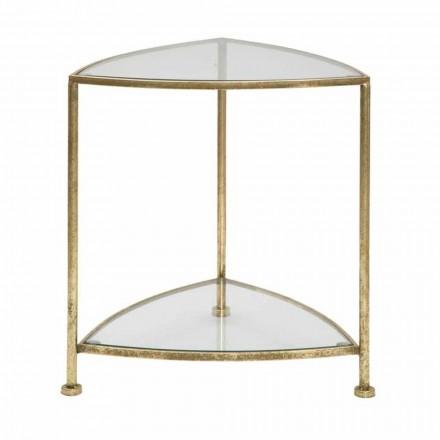 Dreieckiger Nachttisch aus modernem Design aus Eisen und Glas - Kira