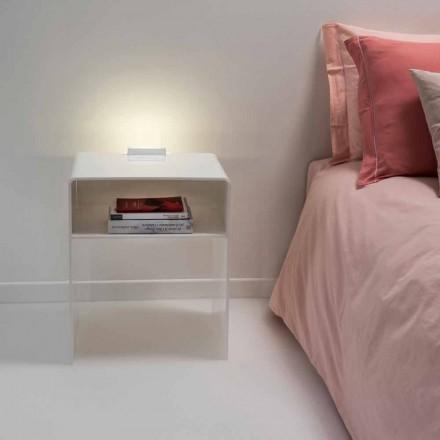 Weißer Nachttisch mit LED-beleuchtbarem Touch-Licht Adelia