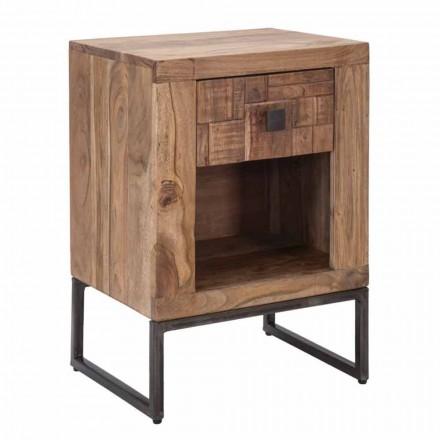 Design Nachttisch mit Schublade aus Akazienholz und Eisen - Dionne
