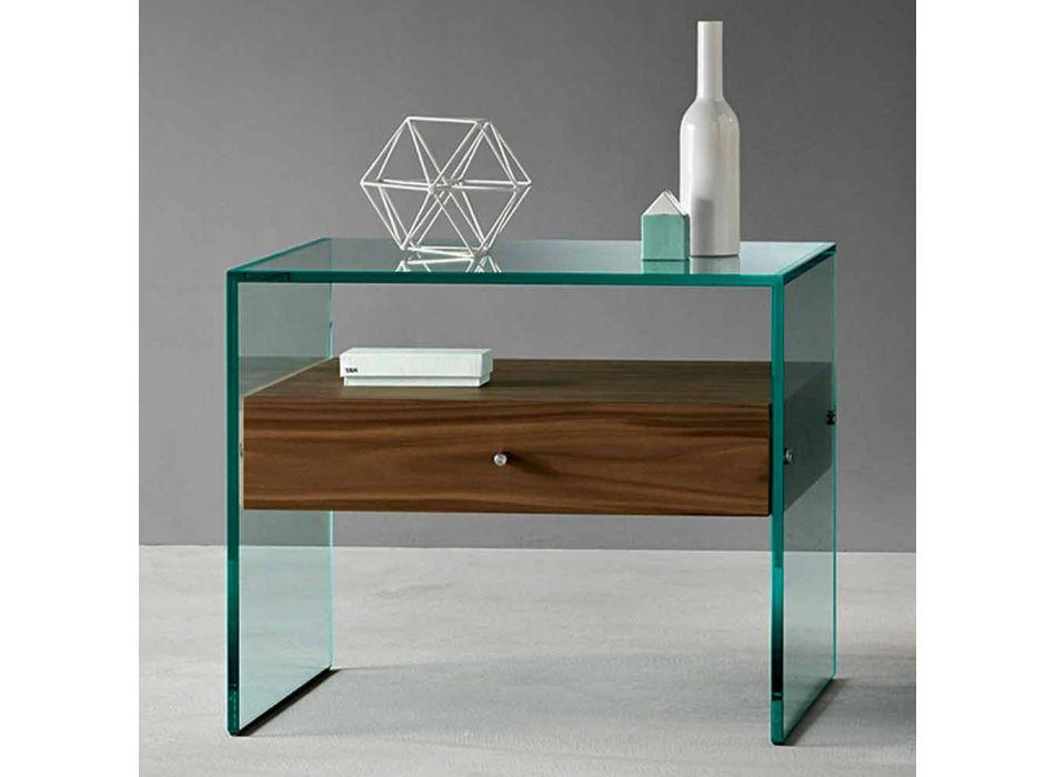 Nachttisch in modernem Design aus extra klarem Glas Made in Italy - Secret