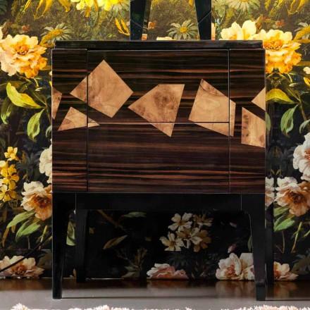 Nachttisch aus Nussbaum- und Ebenholz Grilli Zarafa made in Italy