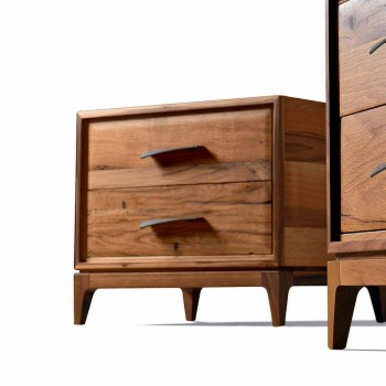 Moderner Nachttisch 2 Schubladen in Antik-Eiche, B 60 x T 42 cm, Margo