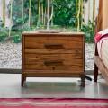 Nachttisch mit 2 Schubladen aus antikem Eichenholz, L60xP42cm, Margo