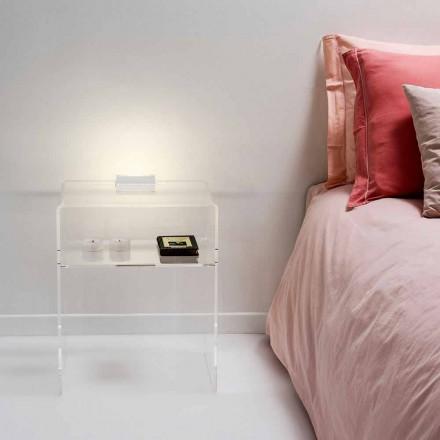 Transparenter Nachttisch mit LED-beleuchtbarem Touch-Licht Adelia