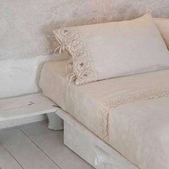 Bettwäscheset für Doppelbett aus hellem Leinen und Farnese-Spitze - Arnesino