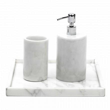 Zusammensetzung Badezimmerzubehör aus weißem Carrara-Marmor Made in Italy - Tuono