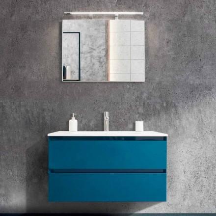 Badezimmerschrank 90 cm, Modernes Waschbecken und Spiegel - Becky