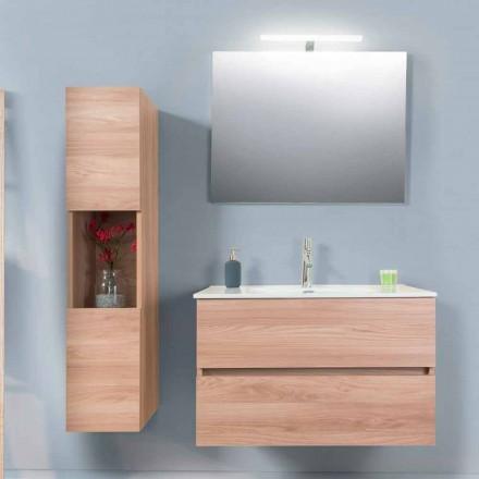 Badezimmerschrank 90 cm, Wah Becken, Spiegel und Säule - Becky