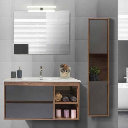 Badezimmerschrank 100 cm, Waschbecken, Spiegel und Säule - Becky