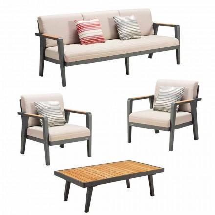 Outdoor-Komposition 3-Sitzer-Sofa, 2 Sessel und Couchtisch - Moira