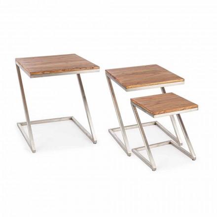 Zusammensetzung von 3 Homemotion Square Holz Couchtische - Fonzi
