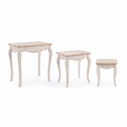 Zusammensetzung von 3 klassischen Design Holz Couchtische Homemotion - Classic