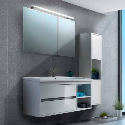 Badezimmerschrank 100 cm, Spiegel, Waschbecken und Säule - Becky