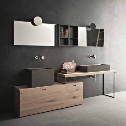 Moderne Badezimmerzusammensetzung von Möbeln mit Bodendesign Hergestellt in Italien - Farart6