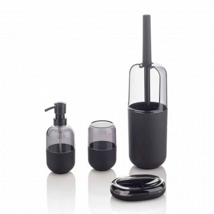 Moderne Zusammensetzung von Badzubehör aus Kunststoff und schwarzem Gummi - Noto